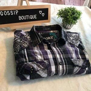 Signature Roar Plaid Embroidered Button Down XL